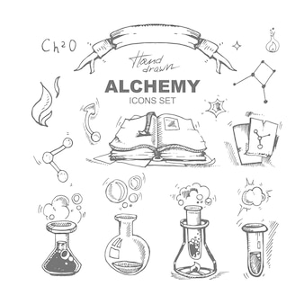 Нарисованные рукой значки алхимии установленные с пробиркой