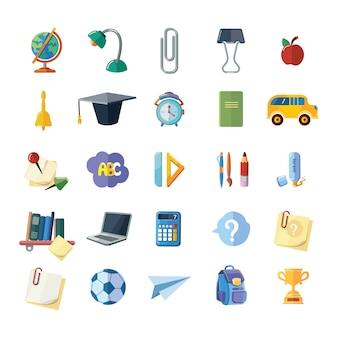 Иконки набор школьных элементов