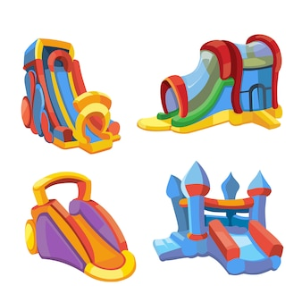 遊び場で膨脹可能な城と子供の丘のベクトルイラスト