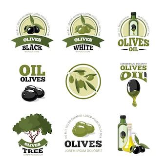 オリーブのベクトルのロゴまたはラベルセット