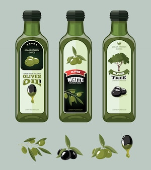 Векторные иллюстрации набор наклеек оливки