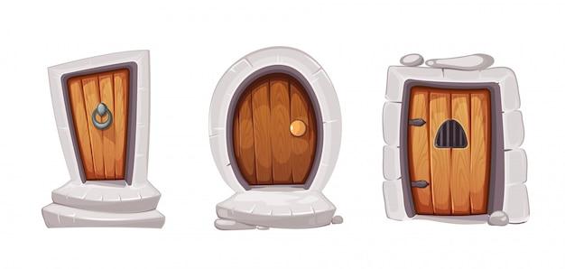 木からの中世の入り口のドア