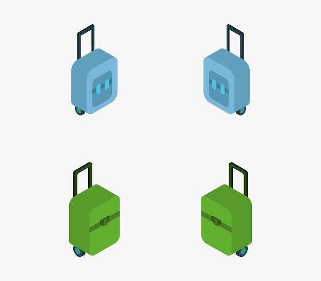 Набор изометрических дорожных чемоданов