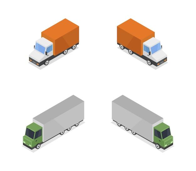 Коллекция изометрических грузовиков