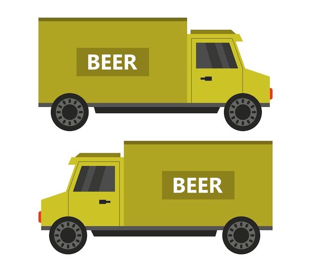 Пивной грузовик на белом