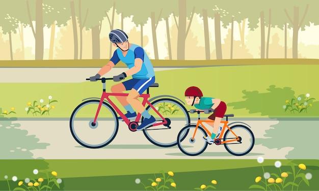 Отец и сын на велосипеде