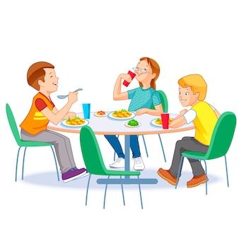 一緒に昼食を食べて幸せな子供