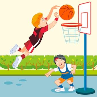 Дети играют в баскетбол на детской площадке