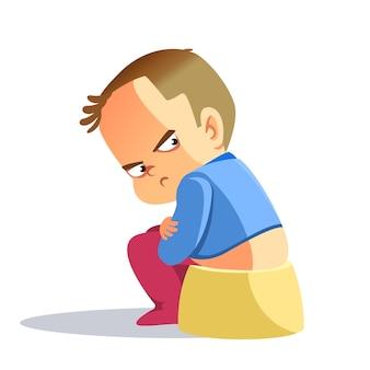 悲しい少年、孤独に見える落ち込んでいる少年。