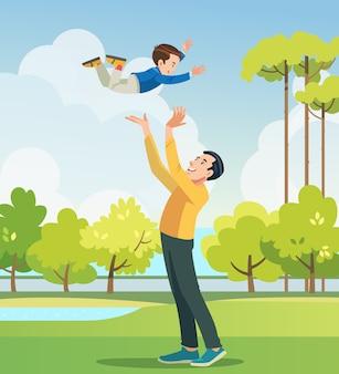 父と息子が公園で遊んでいます。フィールドで楽しんでいる人々。フレンドリーな家族と夏休みの概念。