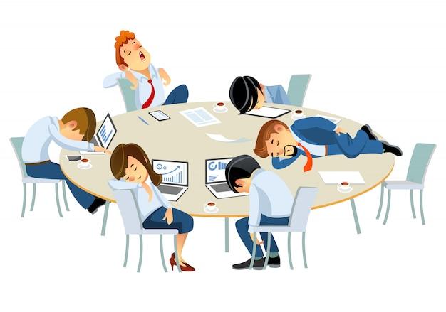疲れたビジネスマン、オフィスのテーブルで寝ている企業人事担当者。白い背景で隔離の漫画スタイルの図