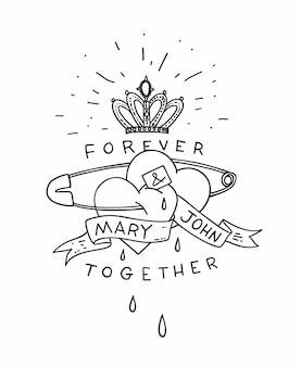 Два сердца на английской булавке с короной и лентой в стиле старой школы татуировки. ручной обращается старинные плакат ар карты. иллюстрации.