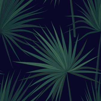 Темный тропический фон с джунглями растений. безшовная тропическая картина с зелеными листьями ладони феникса. иллюстрации.