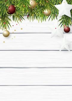クリスマスデザイン紙星とクリスマスボール