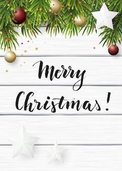 ホワイトペーパーの星とクリスマスボールクリスマス