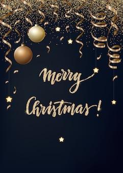Рождество с золотыми серпантинами, конфетти и елочными шарами.