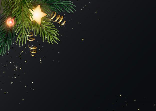 Еловые ветки, светящиеся звезды, золотые серпантины и светящиеся лампочки.