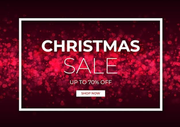 赤い輝きとクリスマスセールデザイン。