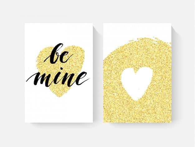 ハンドレットリングとゴールドグリッターのディテールを備えたバレンタインデーカード