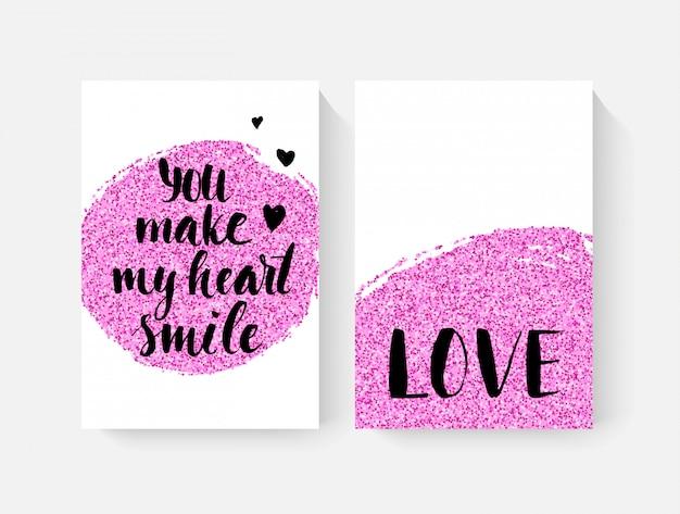 Открытки ко дню святого валентина с деталями ручной строчки и розовыми блестками