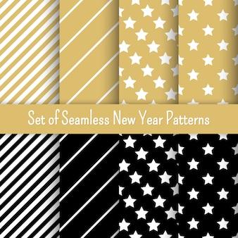 黒、白、金のシームレスな新年パーティーパターンのセット