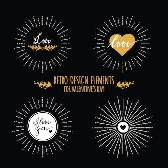 Набор элементов ретро-дизайна с солнечными лучами и сердечками на день святого валентина