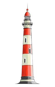 Вручите вычерченный эскиз маяка в изолированном цвете. детальный рисунок в стиле винтаж. векторная иллюстрация
