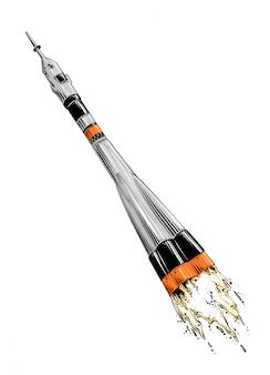 分離された色のロケットの手描きのスケッチ。図