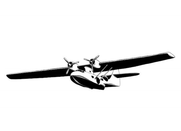 Ручной обращается эскиз самолета в черном изолированные. подробный винтажный стиль рисования.