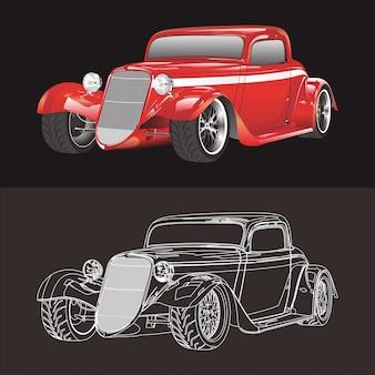 車フォードクーペホットロッドイラスト