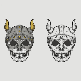 手描きヴィンテージスカルバイキングヘルメット