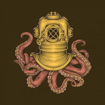 手描きのビンテージダイバーヘルメットタコベクトル図