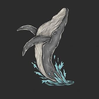 手描きのビンテージクジラジャンプベクトル図