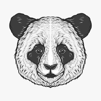 手描きのビンテージパンダ頭ベクトル図