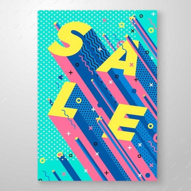 明るい販売メンフィススタイルポスターの幾何学的図形。特別オファー、販売など