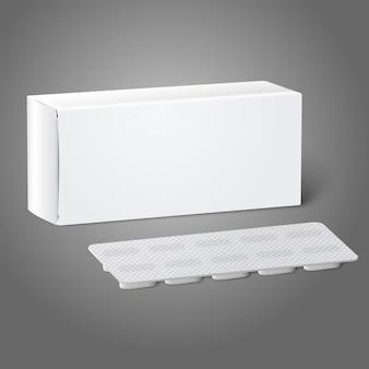 Реалистическая белая чистая бумажная коробка пакета медицины с таблетками в блистерной упаковке. изолированные на сером фоне для дизайна и брендинга.