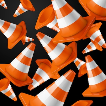 Реалистичные, оранжевые падающие дорожные шишки полосами на черном фоне.