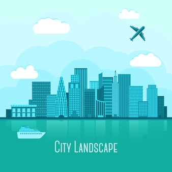 水の反射と近代的な大都市の風景