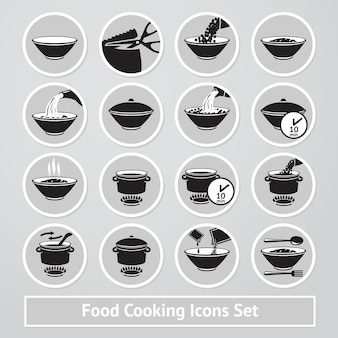 料理のアイコンのベクトルを設定