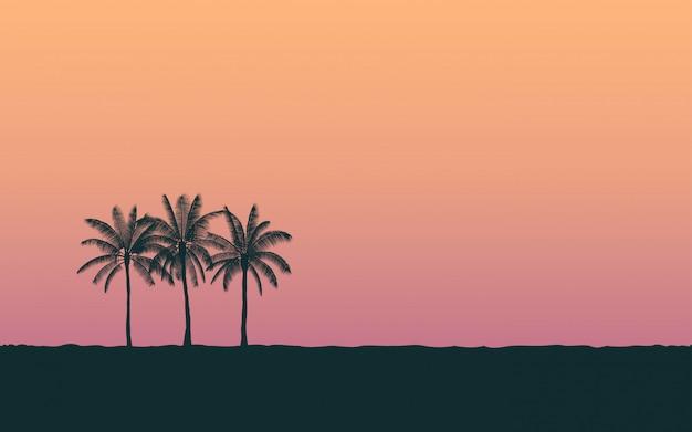 ビンテージフィルターイラストと夕暮れ時のシルエットのヤシの木