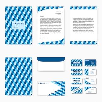 抽象的な青いタータンとビジネス紙テンプレートのセット