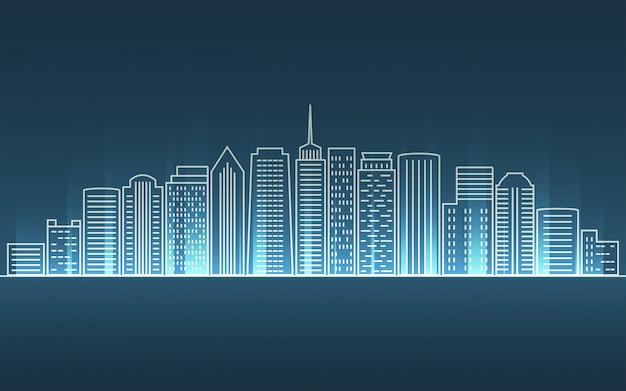 Городской пейзаж в дизайне плоских линий с лучом неонового света