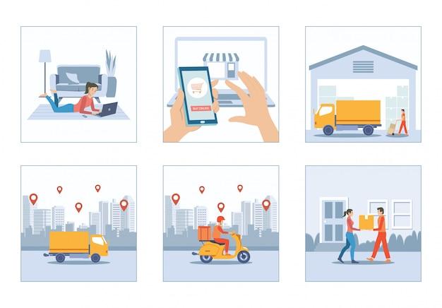 Покупки онлайн дома с доставкой грузовиков и курьер скутер человек набор