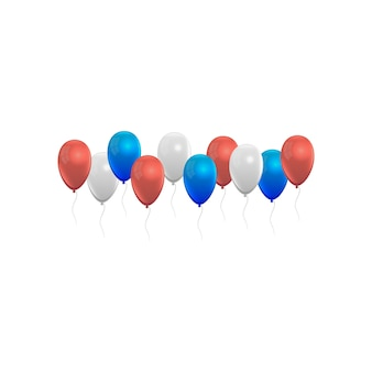 Воздушные шары установлены красный синий, белый и серый