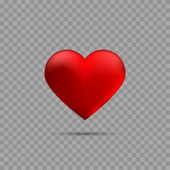 Красное сердце с тенью