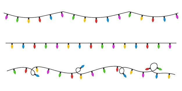 Рождественские огни плоский стиль.
