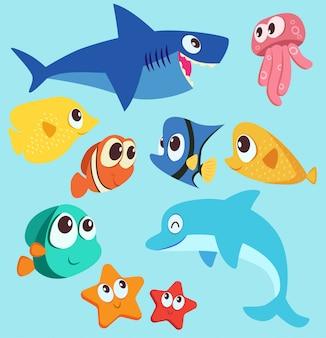 Море животных символов векторные иллюстрации