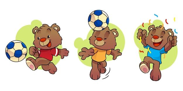 Маленький медведь мультипликационный персонаж играет в футбол
