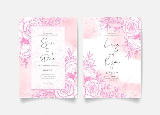日付、花、葉、枝の結婚式招待状を保存します。