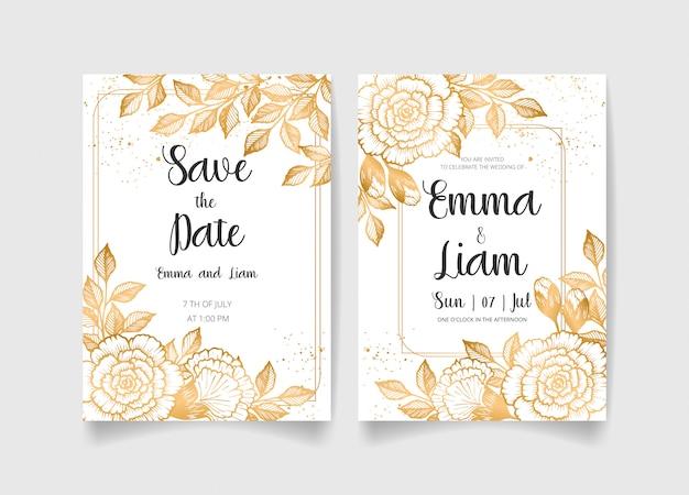 黄金の花、葉、枝で設定された日付、結婚式の招待カードを保存します。